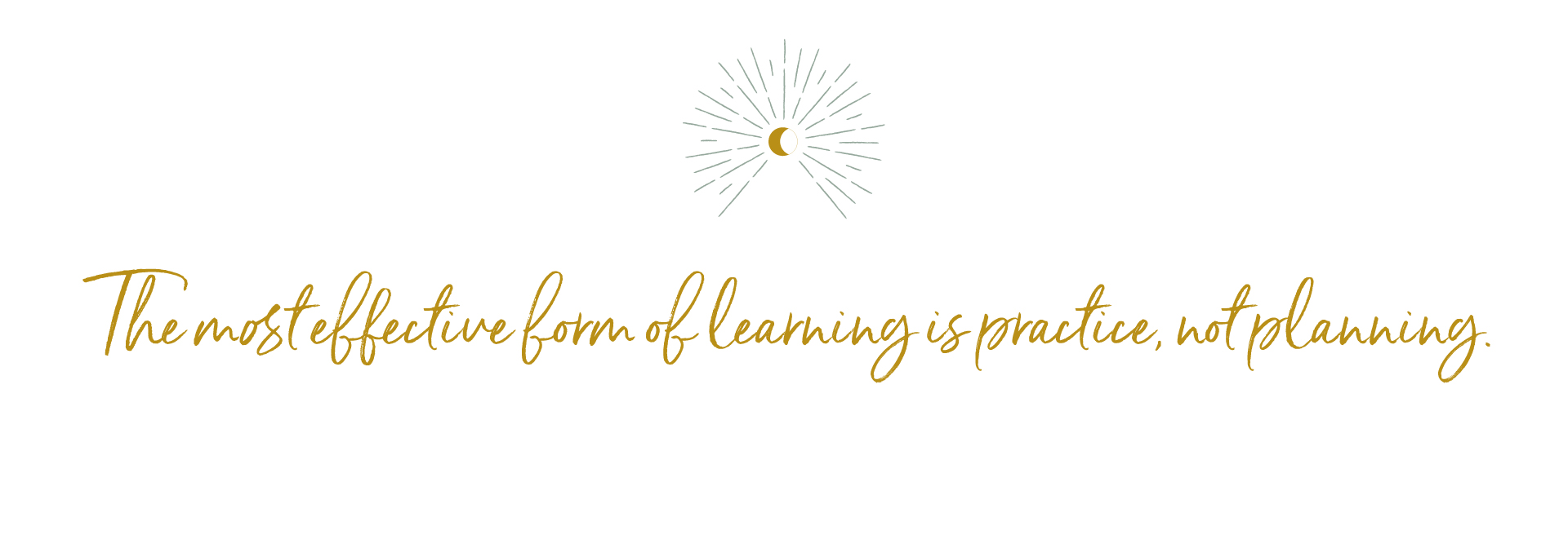 The most effective form of learning is practice, not planning. -niyama