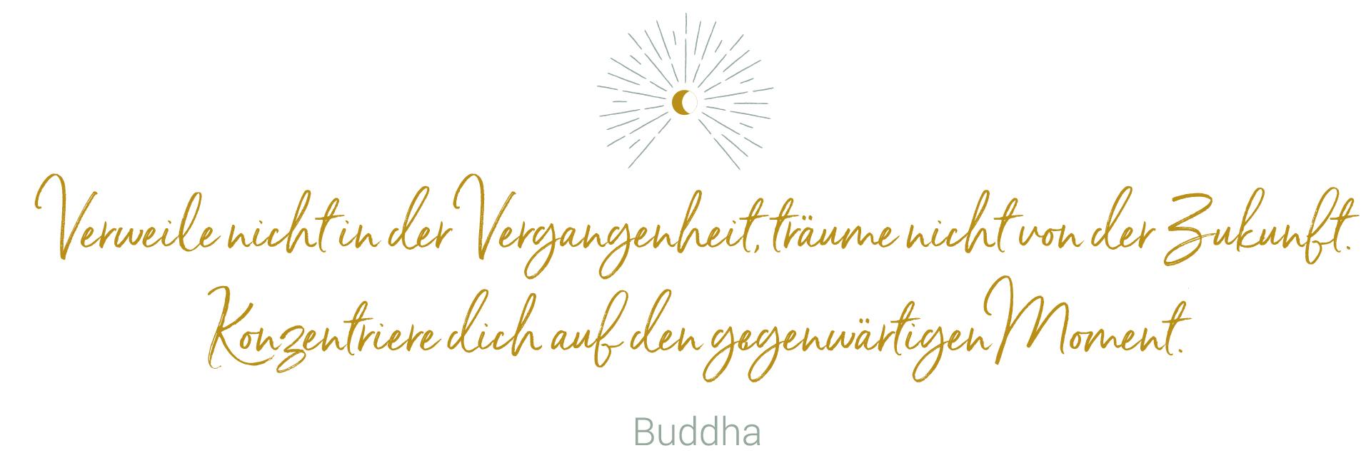 Verweile nicht in der Vergangenheit, träume nicht von der Zukunft. Konzentriere dich auf den gegenwärtigen Moment. Buddha - niyama